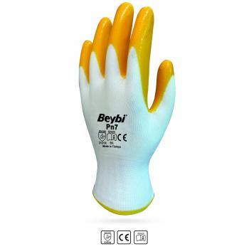 Beybi Pn7 (Elk7) Sarı Nitril Kaplı Polyester Eldiven No:9L 1Çift