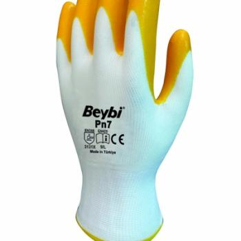 Beybi Pn7 (Elk7) Sarı Nitril Kaplı Polyester Eldiven No:9L 12Çift